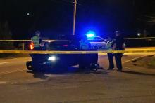 Durham police were searching for several people early Friday who authorities say were involved in a shooting and wreck at an apartment complex on Dearborn Drive.