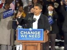 Supporters watch Obama on eve of election