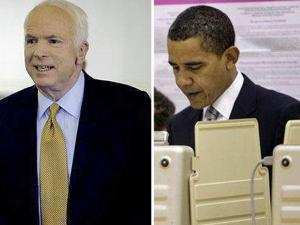 Presidential candidates John McCain (left) and Barack Obama voted early Tuesday before some last-minute campaigning.
