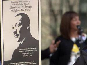 Hundreds gathered in downtown Raleigh to honor slain civil rights leader Martin Luther King Jr. on Jan. 17, 2011.