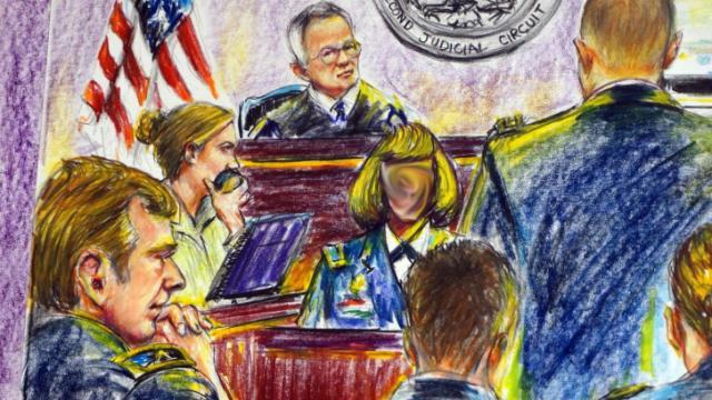 Sketch of Gen. Jeffrey Sinclair and accuser in court