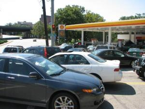 Drivers line up for gas at a station in Asheville Sept. 24. (Submitted by: Catherine Williams)