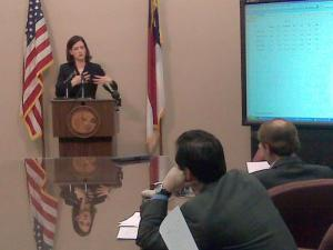 State Treasurer Janet Cowell provides an update on the state pension fund amid the economic downturn.