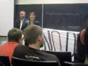 Protesters try to disrupt a speech at UNC-Chapel Hill by former Colorado Congressman Tom Tancredo on April 14, 2009. (Photo taken from YouTube video)