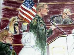 A courtroom artist's sketch shows the questioning of potential jurors on March 2, 2010, during the first day of Army Master Sgt. Timothy Hennis' court-martial. Hennis, depicted at left, is charged with killing a Fayetteville woman and her two daughters in 1985.