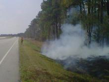 A hot spot burns in Onslow County where a wildfire has consumed nearly 3,000 acres since it started Saturday, March 19, 2011.