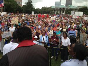 More than 80 people submitted to arrest at this week's 'Moral Monday' protests to call attention to the immediate loss of federal unemployment benefits for 70,000 North Carolinians due to the actions of state lawmakers.