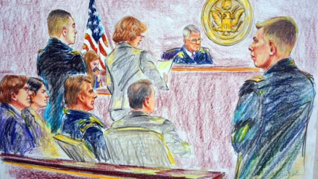 Sketch of Sinclair in court