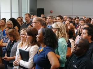 Employees of Cisco gather to hear a job announcement by company leaders and Gov. Pat McCrory on June 6. McCrory announced the Research Triangle Park-based technology firm would add 550 new jobs by 2017 with the help of a $13 million incentive grant. (Photo by Tyler Dukes)