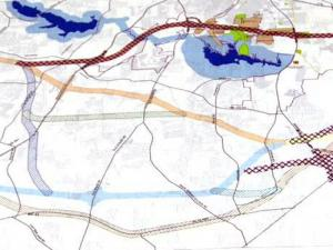 """The """"red route"""" under consideration for the N.C. 540 extension in southeastern Wake County would go through the middle of Garner."""