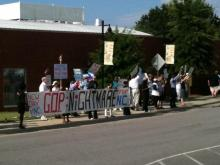 Protestors at the NC House GOP fundraiser, June 29, 2011