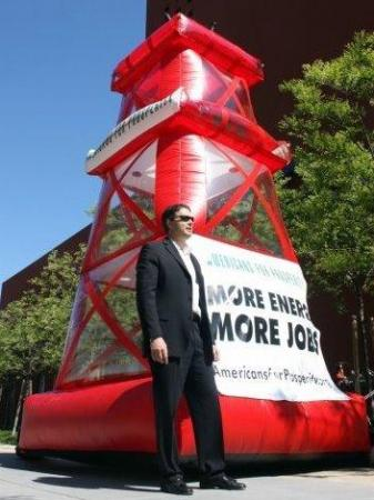 Inflatable derrick touting expanded drilling, courtesy Americans for Prosperity
