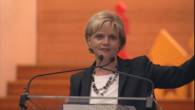 "Gov. Bev Perdue addresses the ""Big Idea"" forum in Raleigh."