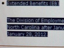 Perdue order will keep NC jobless benefits flowing