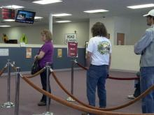 Line at DMV license office