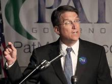 Pat McCrory accepts the Republican nomination for governor during a victory party at a Charlotte bar on May 8, 2012.