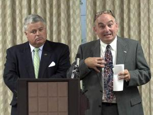 Pryor Gibson, right, a senior adviser to Gov. Beverly Perdue, told the Senate Rules Committee on June 21, 2012, that he thought letters sent to legislators about funding for two toll road projects were accurate when they were sent. Senate Rules Committee Chairman Sen. Tom Apodaca, left, held hearings to determine how the letters, which were disavowed by a top DOT official, were sent to senators during a key budget vote.