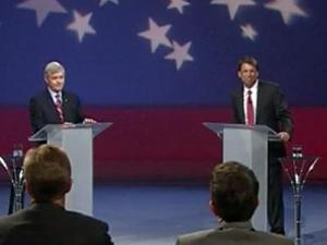 Democratic Lt. Gov. Walter Dalton, left, and Republican Pat McCrory engage in their first televised gubernatorial debate on Oct. 3, 2012.