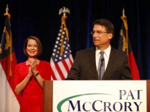 Pat McCrory thanks supporters in Charlotte on Nov. 6, 2012, as he claims vitory in the North Carolina governor's race. (Photo courtesy of Julia Wall of Reese News Lab at the UNC School of Journalism and Mass Communication)
