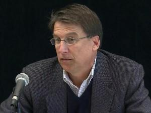 Gov.-elect Pat McCrory holds his first news conference on Nov. 7, 2012, after his election.