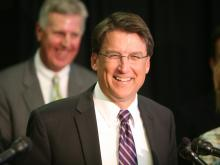 Gov.-elect Pat McCrory speaks to the media in Raleigh on Nov. 8, 2012, about his transition to governor.