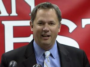 Repuyblican Lt. Gov.-elect Dan Forest delivers his victory speech on Nov. 19, 2012, after Democrat Linda Coleman conceded the race.