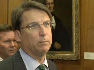 Gov. Pat McCrory speaks to reporters Monday after reviewing damage caused by a fire Friday at the state's Administration Building.