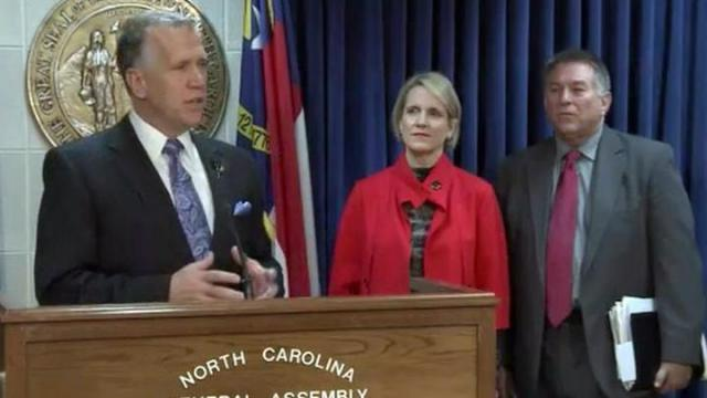 House Speaker Thom Tillis speaks during a Jan. 29, 2013, news conference to outline the House agenda during the 2013 legislative session.