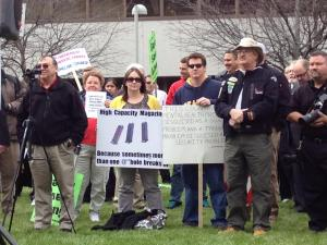 Supporters of expanded gun rights for North Carolinians rally outside the legislative building.