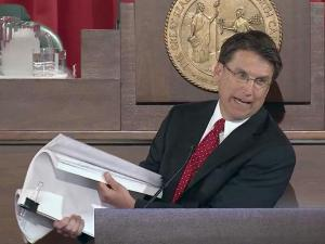 Gov. Pat McCrory complains about government reports during his Feb. 18, 2013, State of the State address.