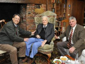 Gov. Pat McCrory, left, meets with Rev. Billy Graham and his son, Franklin Graham, during a March 1, 2013, visit to Billy Graham's home in Montreat.