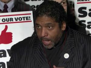 State NAACP President William Barber speaks out against proposals to reduce early voting in N.C. during a March 29, 2013, news conference.