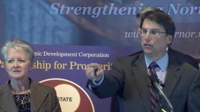 Gov. Pat McCrory with Commerce Secretary Sharon Decker