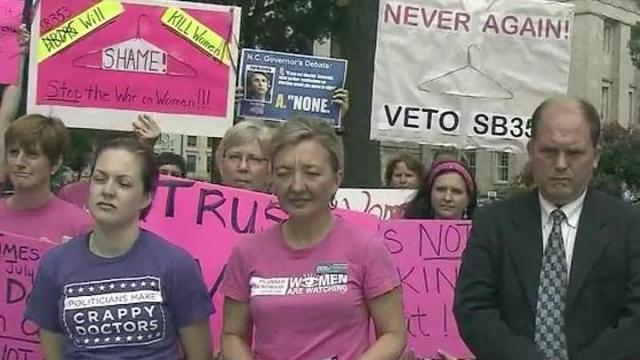 Petitions containing more than 35,000 signatures were dropped off at the State Capitol on July 25, 2013, calling on Gov. Pat McCrory to veto any abortion-related legislation that comes to his desk.