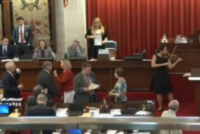 Former legisaltive assistant Christin Danchi plays the violin on the House floor near the end of the 2013 legislative session.