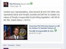 McCrory Facebook Post