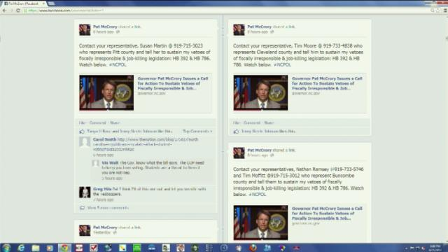 Pat McCrory's Facebook page