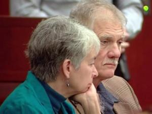 "Vicki and Douglas Ryder sit in a Wake County courtroom on Oct. 11, 2013. They were charged as part of the so-called ""Moral Monday"" protests at the state Legislative Building, but all charges against them were dismissed."