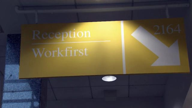 Work First sign