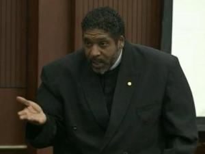 "NAACP President Rev. William Barber appears in court on Oct. 25, 2013, on a charge in connection with the ""Moral Monday"" protests."