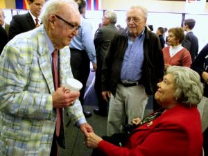 U.S. Rep. Howard Coble greets longtime supporter Mary Elizabeth Irvin, a resident of Greensboro, at an event Nov. 11, 2013.