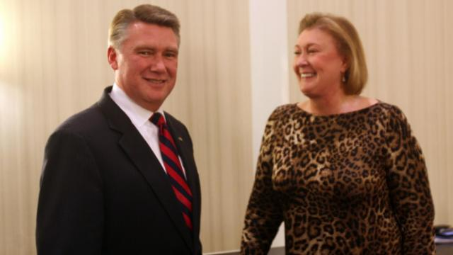 Mark Harris, a Baptist minister and candidate for U.S. Senate, speaks with Janet Huckabee, the wife of former Arkansas governor and presidential candidate Mike Huckabee, who has endorsed his run.