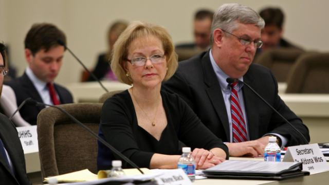 State Department of Health and Human Services Sec. Aldona Wos addresses ongoing issues with the NC FAST system Tuesday, Jan. 14, 2014, in a oversight committee hearing. Beside her is Chief Compliance Officer Mark Payne.