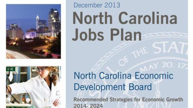 The cover an economic development plan presented to Gov. Pat McCrory on Jan. 24, 2014.