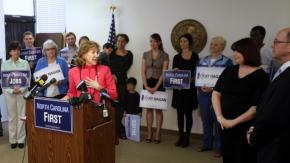 Sen. Hagan speaks to reporters