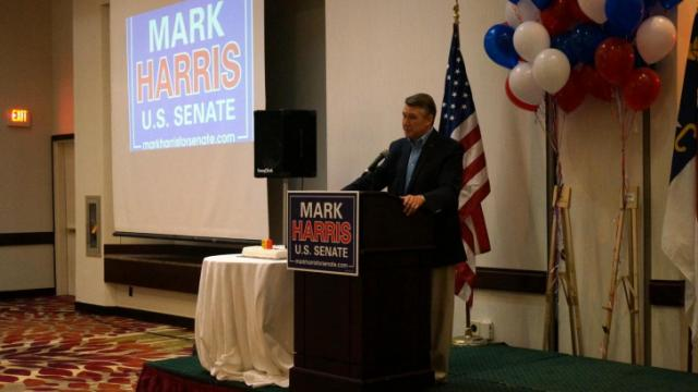 The Rev. Mark Harris, a candidate for U.S. Senate, speaks to supporters in Greensboro on April 19, 2014.