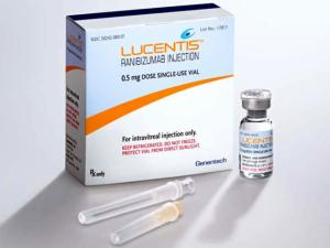 Lucentis, or ranibizumab, is manufactured by Genentech and approved by the FDA for the treatment of macular degeneration.