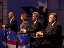 House Speaker Thom Tillis, Wilkesboro nurse Heather Grant, Dr. Greg Brannon of Cary and Rev. Mark Harris of Charlotte engaged in a debate among leading Republican candidates for U.S. Senate on April 23, 2014. Former Shelby mayor Ted Alexander, Alex Bradshaw, a computer programmer from Icard, Edward Kryn, a retired doctor from Clayton, and Lexington lawyer Jim Snyder debated on April 24, 2014.