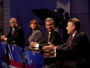 House Speaker Thom Tillis, Wilkesboro nurse Heather Grant, Dr. Greg Brannon of Cary and Rev. Mark Harris of Charlotte, left to right, engage in an April 23, 2014, debate among leading Republican candidates for U.S. Senate.