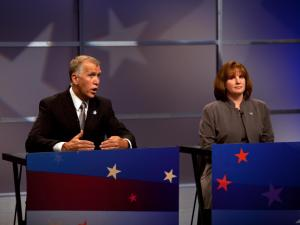 House Speaker Thom Tillis and Wilkesboro nurse Heather Grant participate in an April 23, 2014, debate among leading Republican candidates for U.S. Senate.